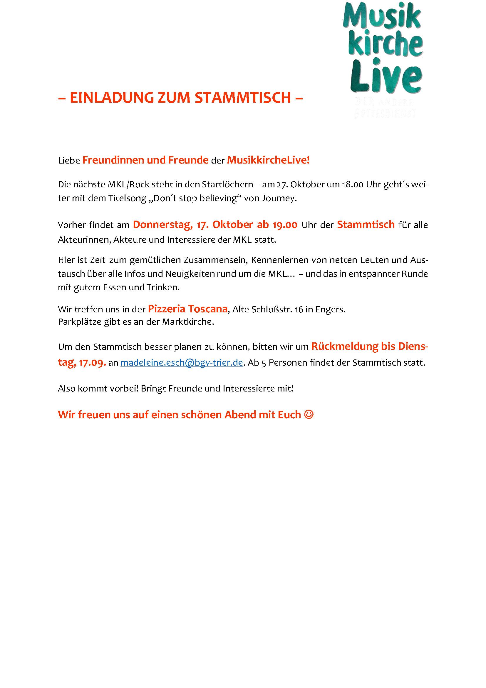 Einladung zum MKL Stammtisch